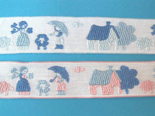 Tkaná stuha - život na statku - šíře 2,5 cm