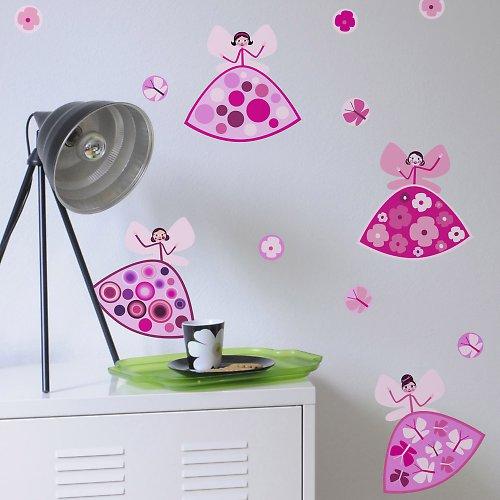 Růžové sukničkové víly - samolepky na zeď