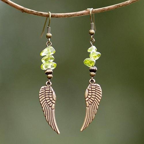Andělská křídla s olivínem