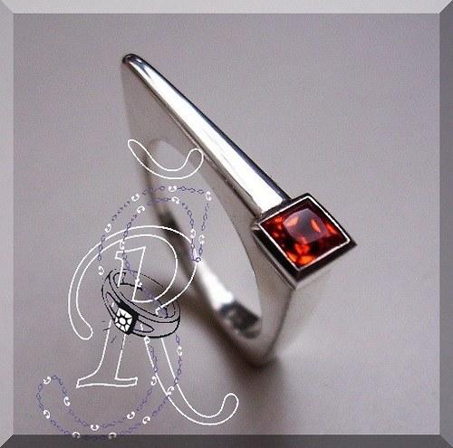prsten s padparačem + RH  velikost  č. 54
