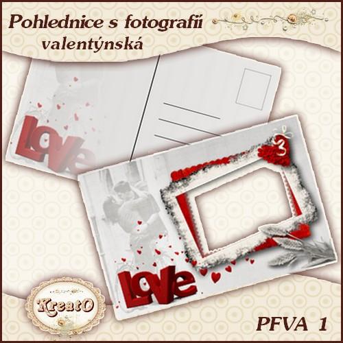 Valentýnská pohlednice s fotografií
