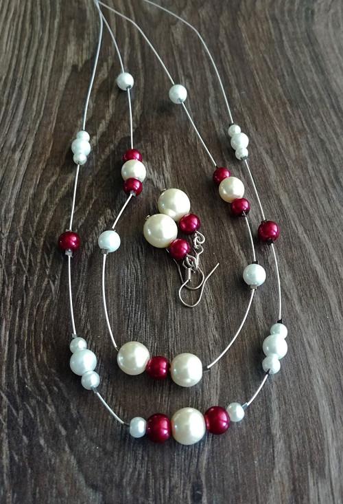 Perličkový náhrdelník + náušnice