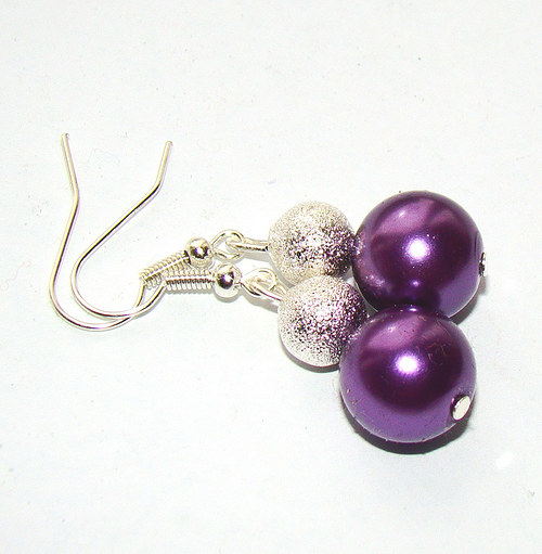 náušnice stříbrné kuličky a perličky