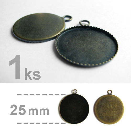 Lůžko - kruhové - zubatý okraj (25mm) - mosazná
