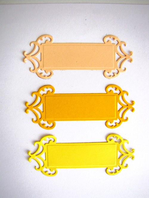 Štítek ornamentální č.2 -  3 ks - barva podle přán