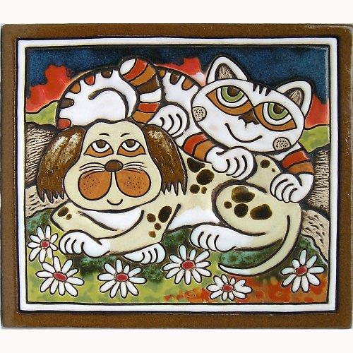 Keramický obrázek - Kočka a pes K-110-M