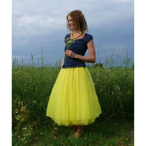 Žlutá tylová sukně