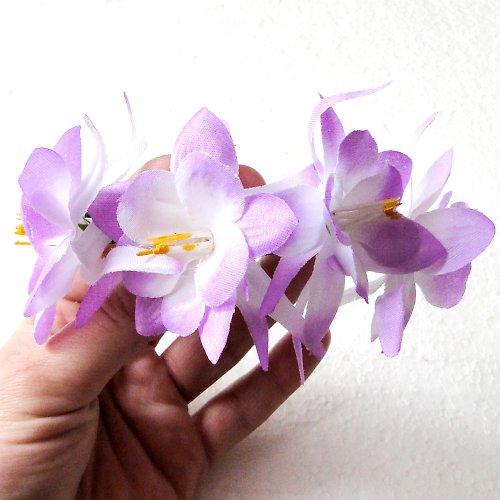 Květinová spona fialovobílá - SLEVA!!!