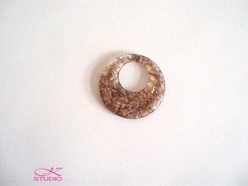 Přívěsek KRAKL plast 48mm kruh hnědý