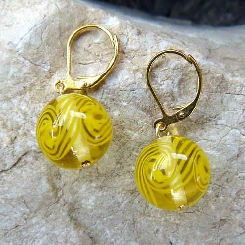 Náušnice točené koule, žluté