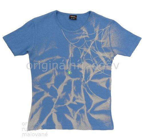 SLEVA: Malované tričko dámské - pavouček - modré