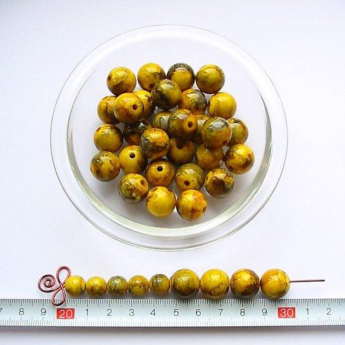 Mramorová kulička 14 mm, žluto-zelená, 5 ks, sleva