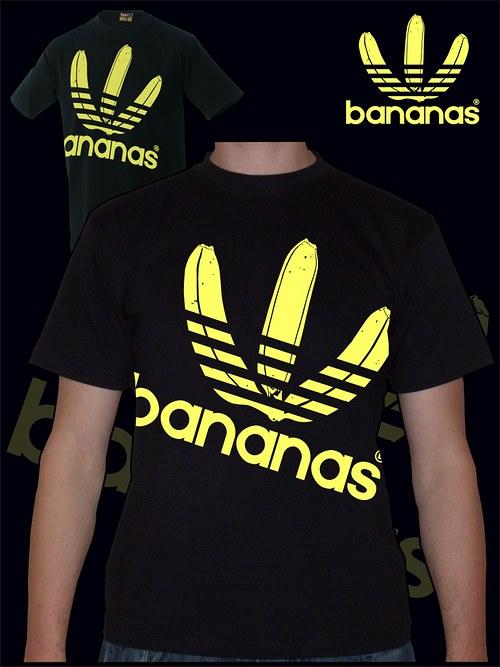 Pánské černé tričko Bananas velký potisk