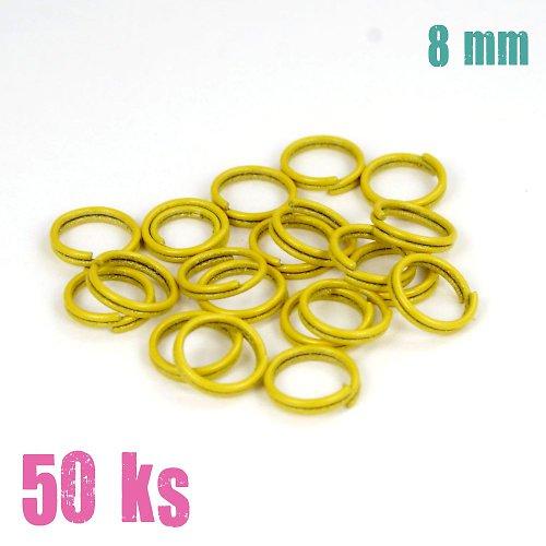 Tmavožluté dvojité kroužky 8 mm, 50 ks