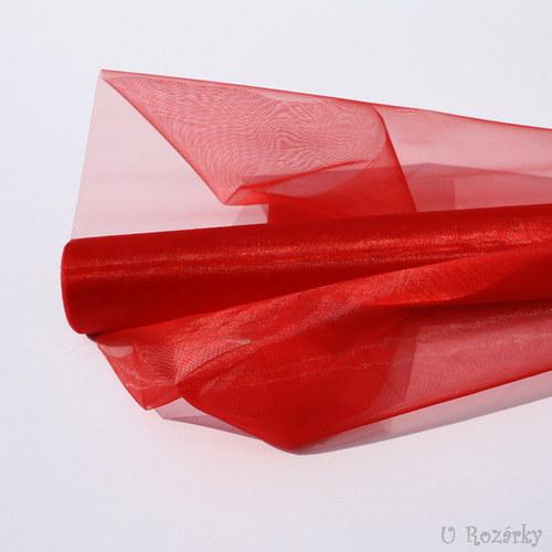 Organza neobšitá - šíře 37 cm - červená