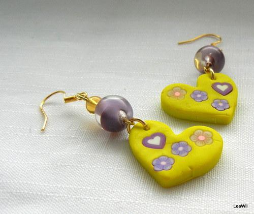 Naušnice srdíčka - letní s fialovou kuličkou