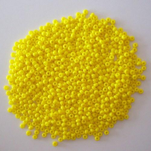 Skleněné korálky - rokajl 10/0 žlutý, sytý