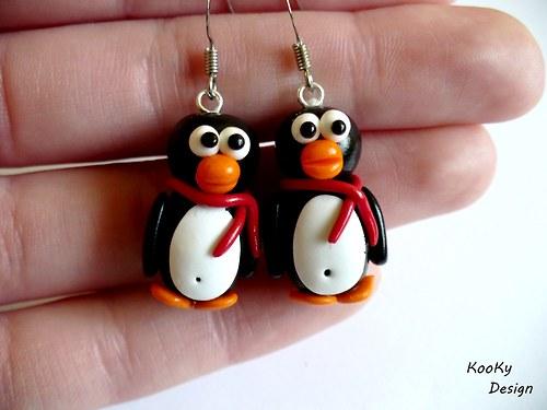 Visací náušnice - tučňáčci