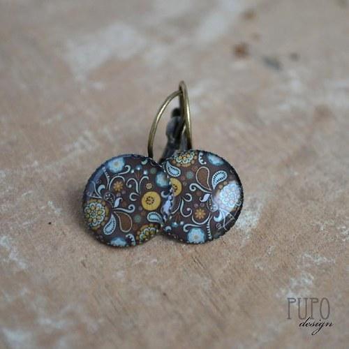 Čokokvěty ve starobronzu, závěsné naušničky