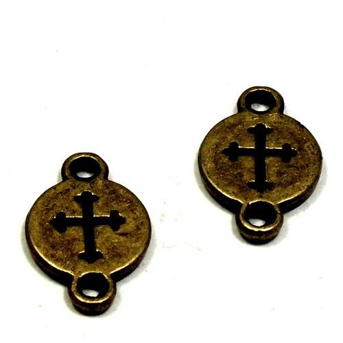 """Spojka \""""penízek\"""" s křížkem, bronz, 2 ks,"""