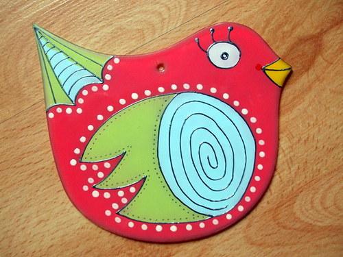 Skleněný závěs - ptáček