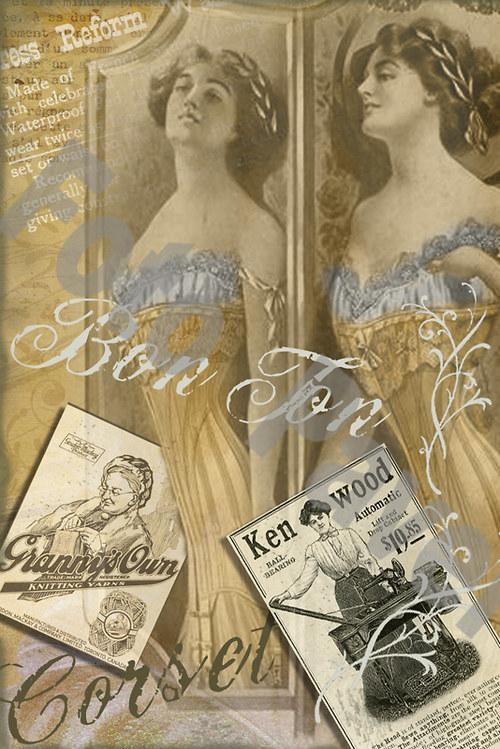 Vintage motiv - dáma v korzetu 4