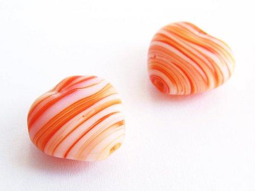 Oranžová pruhovaná srdíčka ((V12))