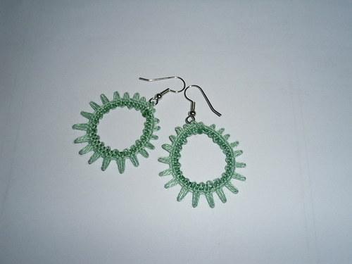 Krajkové náušnice - zelené