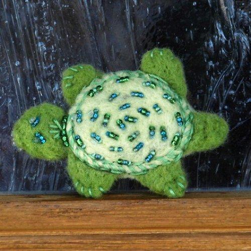 Plstěná želvička zelená