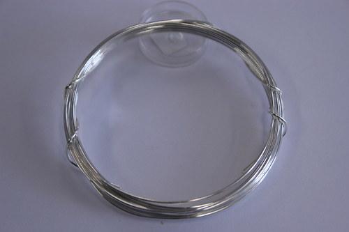 Měděný drátek 1mm - stříbrný, návin 3,8-4m