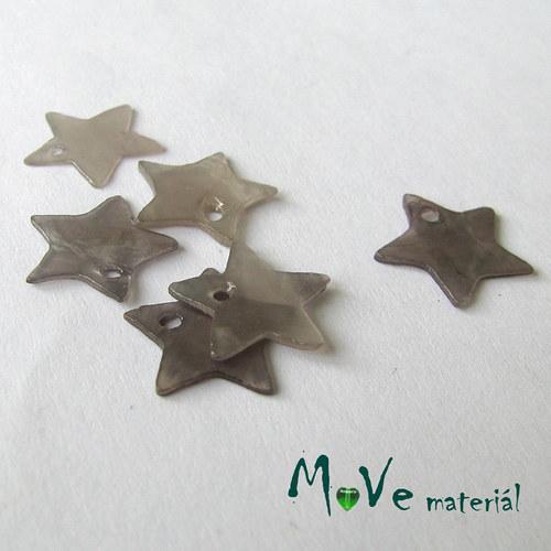 Perleťové penízky hvězdičky 13mm, 6ks, šedé