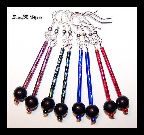Černé kuličky na tyčce - metalické