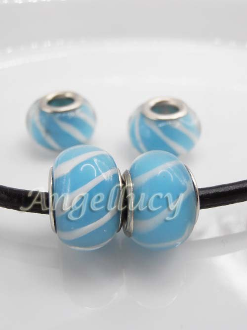 "Lampwork - \""modrá proužkovaná\"" (01298)"