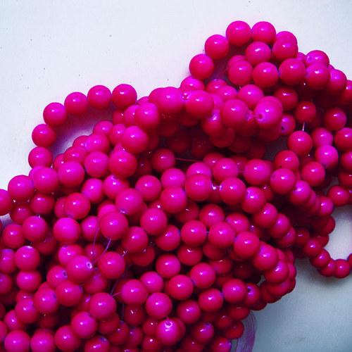 skleněné korálky LESK/ růžová tm./ 10mm/10ks
