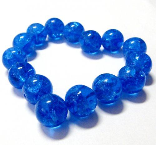 Modré, práskané korálky 12 mm, jedno balení = 5 ks