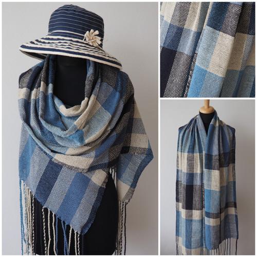 Modrý vítr - ručně tkaná hedvábná  šála
