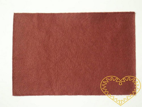 Hnědorezavá plsť - dekorační filc 30 x 20 cm