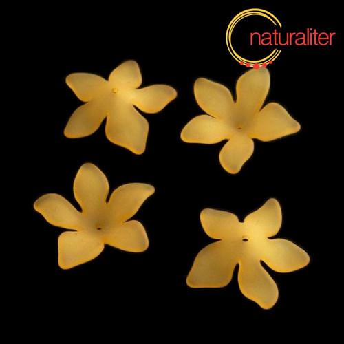 Květina akrylová - lilie 27mm oranžová, 4ks