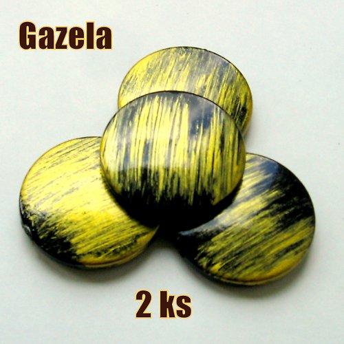 Žíhaná velká žlutá kolečka - 2 ks