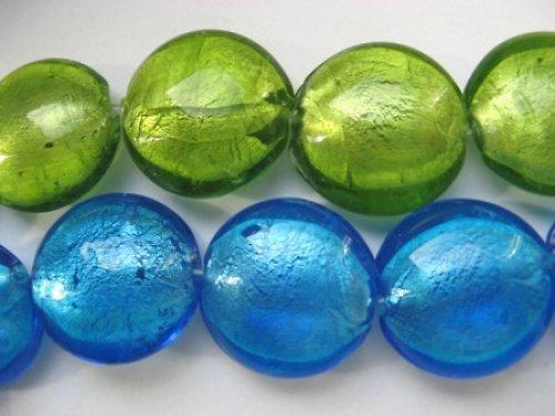 Skleněná čočka - korálek zelený