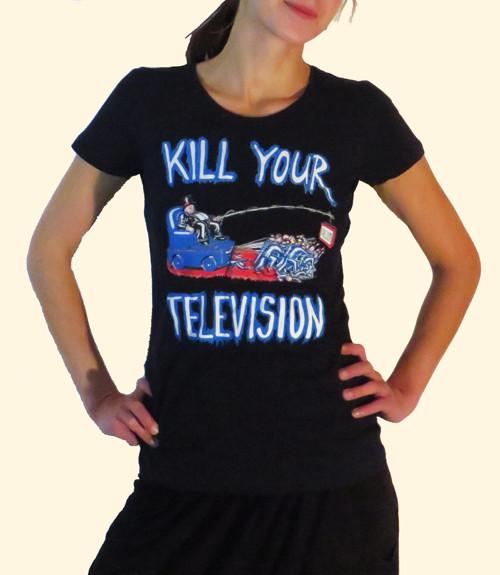 Tričko dámské tmavě modré KILL YOUR TELEVISION