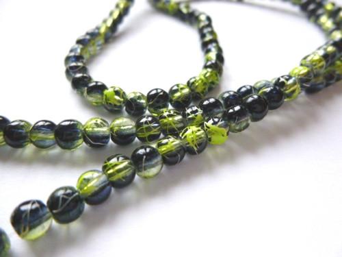 Černé korálky se zeleným dekorem 4mm/20ks