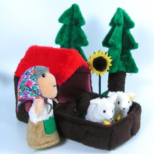 Skládací domeček se zahrádkou - autorská hračka