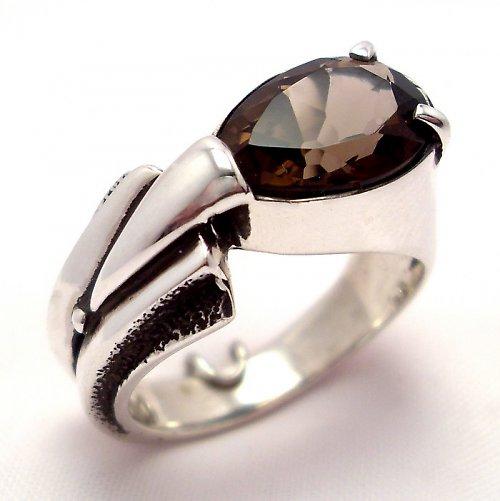 Prsten «Pero» - stříbro 925, přírodní záhněda