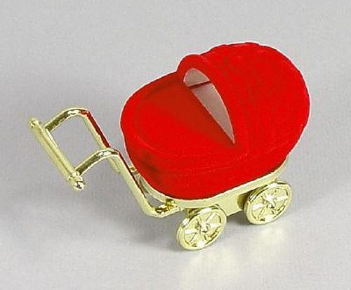Sametová krabička na šperky - červený kočárek