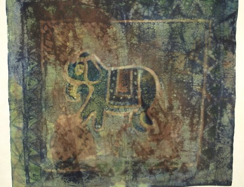 Vosková batika - slon