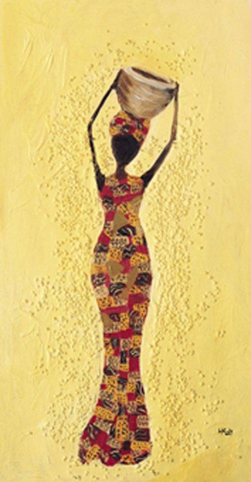 Reprodukce - tisk - žena s mísou 10x25cm -0051G