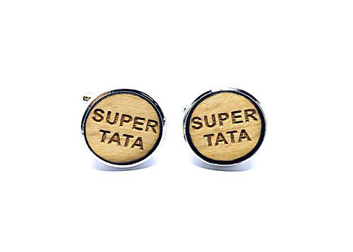 Dřevěné svatební manžetové knoflíčky SUPER TÁTA