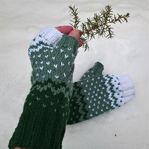 Zasněžený les - návleky na ruce