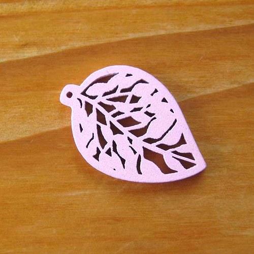 Dřevěný Lísteček - Růžový
